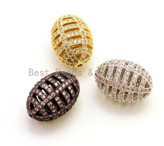 CZ Micro Pave Oval Cage Spacer Beads with Clear Crystal for Bracelet/Necklace, Cubic Zirconia Space Beads, Bracelet Charms, 17x11mm,sku#G54