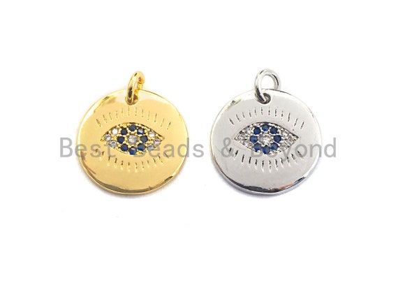 PRE-SELLING Cobalt CZ Micro Pave Round Evil Eye on Disc Pendant/Charm, Lucky eye Cubic Zirconia Pendant, Silver/Gold Tone,15mm,Sku#Z417