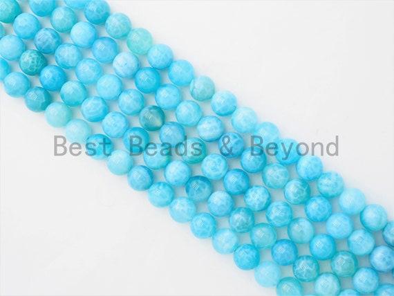 High Quality Chalcedony Beads, Round Smooth 6mm/8mm/10mm/12mm/14mm Natural BLUE Gemstone beads,Blue Beads, 15.5inch strand, SKU#U354