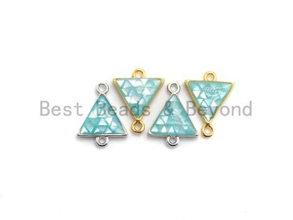100% Natural Aqua Blue Shell Triangle Connector with Gold/Silver Finish, Blue Shell Connector, Natural Shell Beads, 11x14mm,SKU#Z269