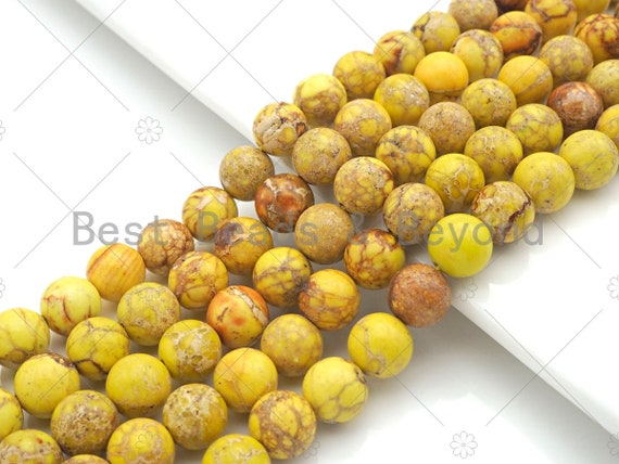 High Quality Yellow Sea Sediment Imperial Jasper Beads, 6mm/8mm/10mm/12mm Round Smooth Imperial Japser, 15.5'' Full Strand, SKU#UA172