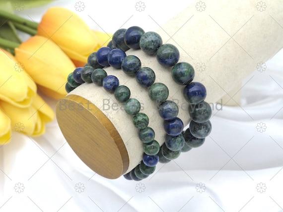 Quality Lpais Chryscolla Stretchy Bracelet, 8mm/10mm/12mm Elastic Fit Round Smooth, 7.5'' Lapis Chryscolla Bracelet,Sku#EF77