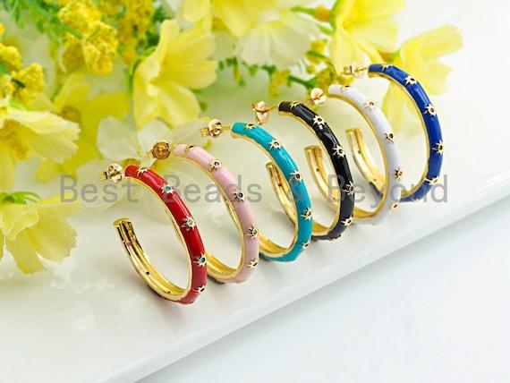 Colorful Enamel Round Loop Latch Back Earring, CZ Star stud on Enamel Earrings, Colorful Enamel pave earrings,4x35mm,sku#J152