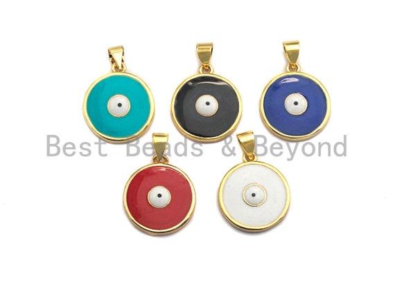 Enamel Evil Eye Charm, Red Black White eye pendant, Enamel eye charm, Round Protection eye charm, 18x16mm,sku#F937