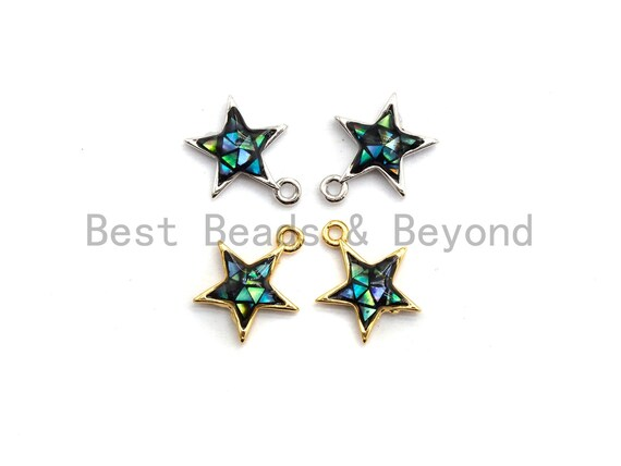 100% Natural Abalone Five Star Charm,Atrovirens Abalone shell Charm, Jewelry Making Findings, 11x13mm,SKU#Z340