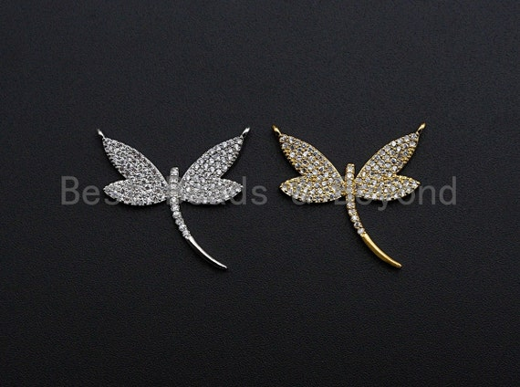 Clear CZ Micro Pave Dragonfly Shape Pendant,Cubic Zirconia Dragonfly Charm,Gold/Silver Tone,25x28mm,sku#Z738