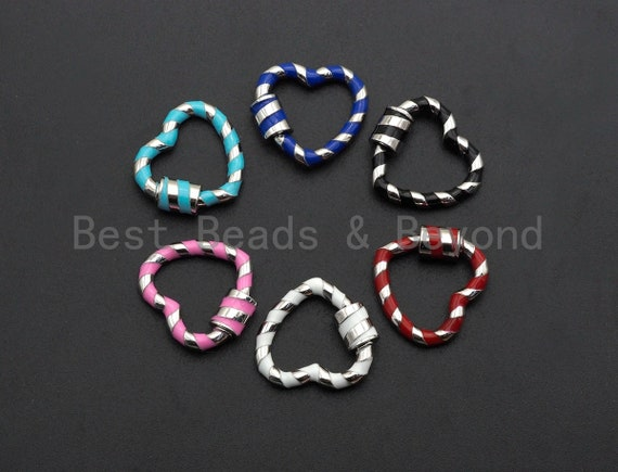 PRE-SELLING Colorful Enamel Pave Heart Shape Clasp,Silver Plated Screw Clasp, Carabiner Clasp, 22.6X21mm, sku#K76