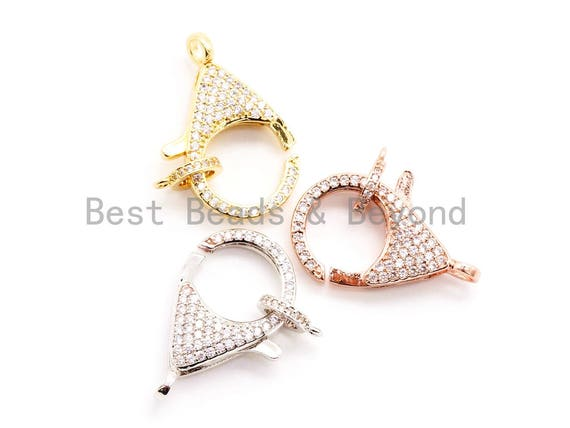 1pc/2pcs CZ Micro Pave Teardrop Lobster Claw Clasp, Cubic Zirconia Pave Lobster Clasp, Gold Silver Black Rose Gold Plated, 32x16mm, sku#H43