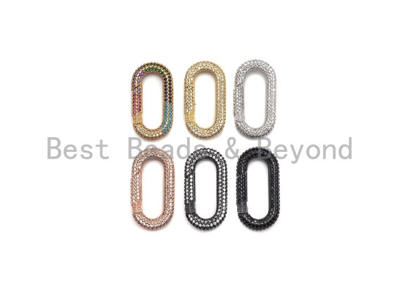 NEW Spring Snap Fully CZ Micro Pave Oval Carabiner Clasp, Oval Link Clasp, Connector Clasp, Oval Lock, 18x34mm/15x28mm, sku#H257