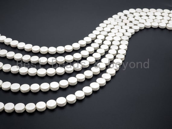 White Natural Mother of Pearl beads, 5x12mm AB Color Pearl Coin beads, White Coin MOP Shell Beads, Loose Pearl Beads, 16inch strand, SKU#T60