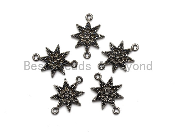 Black CZ Pave On Black Micro Pave Star Connector,Cubic Zirconia Connector,Fashion Jewelry Findings, 12x16mm, sku#A94