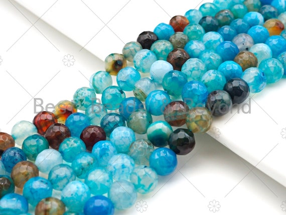"Blue Fire Agate, Round Faceted 6mm/8mm/10mm/12mm, Natural Agate Beads, 15.5""Full Strand, SKU#UA204"