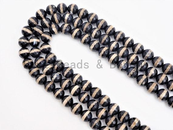 Dzi Black One Line Faceted Black Round Faceted Agate beads, Tibetan Black Agate beads, 6mm/8mm/10mm/12mm, 15.5inch strand, SKU#U405