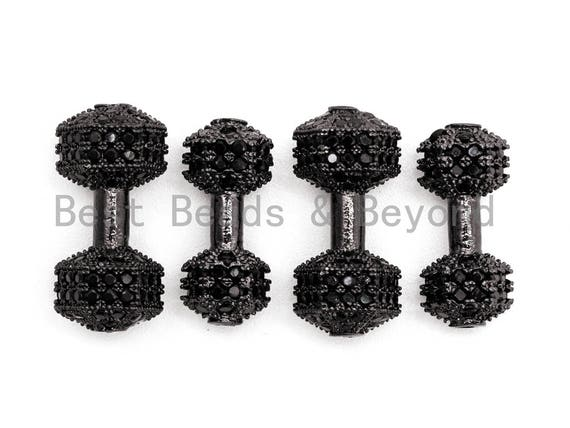 Black CZ Pave Dumbbell Micro Pave Beads, Cubic Zirconia Spacer Beads, Fitness Barbell Spacer, Men's Bracelet Charms, 6x16/7x17mm sku#G330