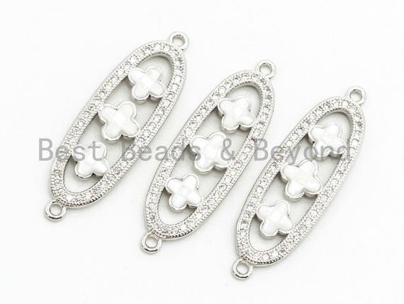 CZ Clear Micro Pave Four-leaf Beads On Oval Shaped Connector for Bracelet/Necklace, Cubic Zirconia Link Connector,10x32mm, 1pc, sku#Z35