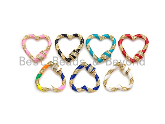 Preselling Colorful Enamel Pave Heart Shape Clasp, Gold Carabiner Heart Clasp, 29mm, sku#H214