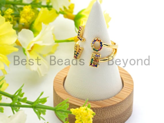 PRE-SELLING Colorful Cz Micro Pave LOVE Letter Ring, Cubic Zirconia Gold Ring, Adjustable Ring, Open Ring, 16x20x16mm,sku#X71