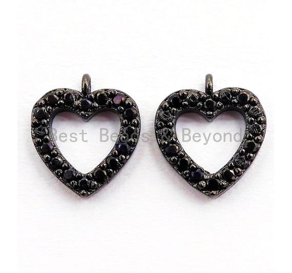 Black CZ Pave On Black Micro Pave Heart Pendant/Charm,Cubic Zirconia Paved Heart Charm, Necklace Bracelet Heart Charm, 9x10mm,1pc, sku#B95