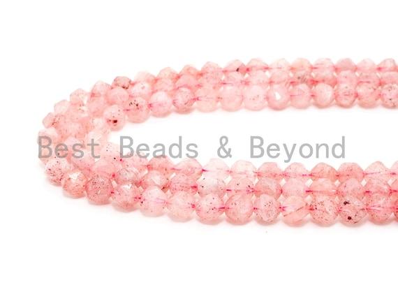6mm/8mm/10mm Quality Natural Strawberry Quartz beads, Round 16 Faceted Diamond Cut gemstone, Pink Gemstone Beads, 15inch strand, SKU#U39