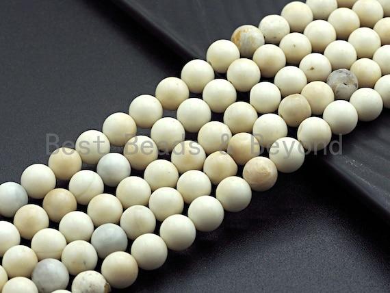 "Quality Natural Matte Ivory Jade, 8mm/10mm, 15.5"" Full Strand, sku#U651"