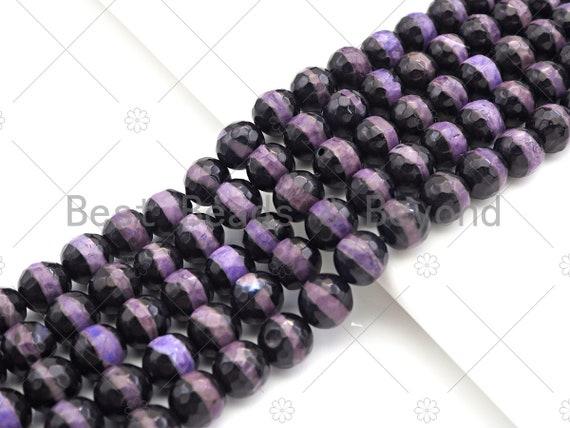 Dzi Agate Faceted Round Beads with Purple Line, 6mm/8mm/10mm/12mm, Purple Black Tibetan Beads, Agate Beads, 15.5'' Full Strand,Sku#U1074