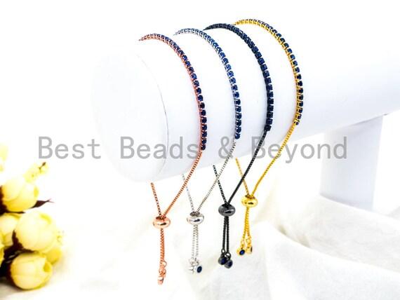 NEW Adjustable Bracelet, Cobalt Blue CZ Pave Stud Bracelet Gold/Silver/Rose Gold/Gunmetal, Bridal Bracelet Jewelry,sku#P47