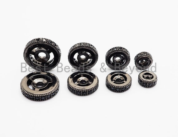 Micro Pave Black CZ On Black Wheel Spacer Beads, Cubic Zirconia Wheel Round Spacer Beads,Pave Beads,6/8/10/12mm, sku#C72