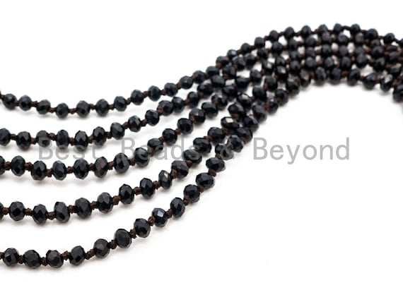 "60"" EXTRA Long Hand Knotted Black Color Crystal Necklace,Double Wrap Necklace, Black 2x4mm Rondelle Faceted Crystal Beads, SKU#D17"