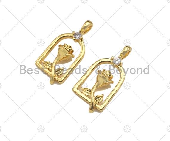 CZ Micro Pave Rose Flower On Birdcage Frame Shape Pendant/Charm, 18K Gold Charm, Necklace Bracelet Charm Pendant,11x23mm, Sku#LK259