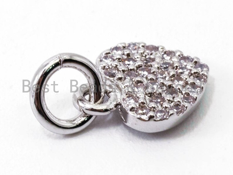 CZ Pave Charm in GoldRose GoldSilver Finish Clear CZ Micro Pave 7x9mm Heart Charm sku#Y29