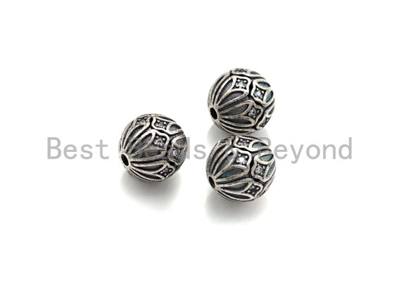 Antique Silver CZ Pave round ball, CZ Pave Spacer Beads in oxidized silver,10mm, sku#X133