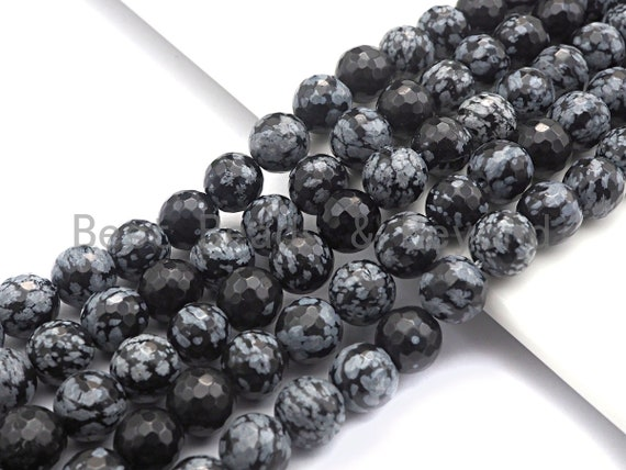 """Quality Natural Snowflake Beads, 6mm/8mm/10mm/12mm round faceted, Black white snowflake,15.5"""" full strand, sku#U523"""