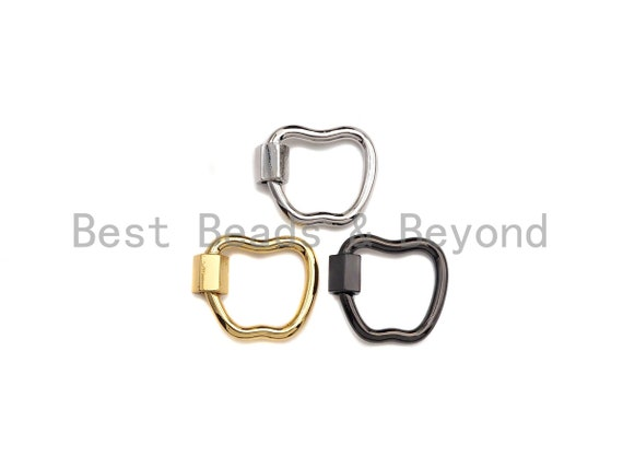 PRESELLING Apple Shape Clasp, CZ Pave Clasp, Gold/Silver/Rose Gold/Black Carabiner Clasp, 17x18mm,sku#K115