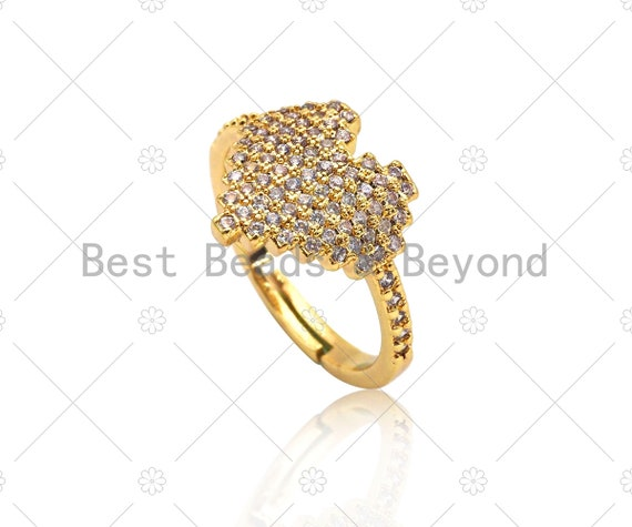 CZ Micro Pave Heart Shape Adjustable Ring, 18K Gold Filled Open Ring, CZ Statement Ring, Heart Ring, 20mm, Sku#X207