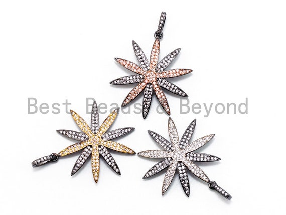 Dual Color CZ  Micro Pave Flower Pendant, Flower Shaped Pave Pendant, Gold/Rose Gold/Silver/Gunmetal plated, 39x30mm, Sku#F214