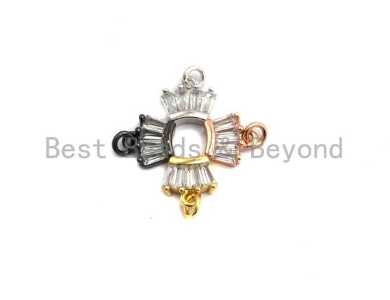PRE-SELLING CZ Micro Pave Crown Pendant with Baguette cz ,Gold/Silver/Black/Rose Gold,Cubic Zirconia Jewelry Findings,8x8mm,sku#F651