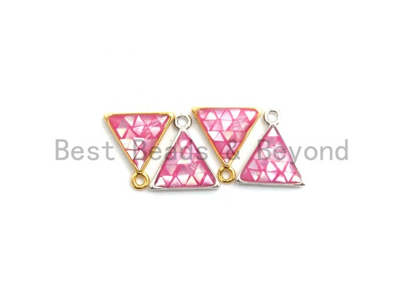 100% Natural Pink Color Shell in Triangle Shape-Gold/Silver Pink Shell Charm-Fuchsia Shell Charm, Shell Beads, 11x12mm,SKU#Z309