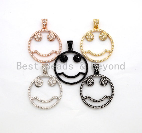 CZ Micro Pave Cute Face Round Pendant with bail, 30x27mm, Cubic Zirconia Round Pave Pendant Charm Beads, Pave Pendant, SKU#F500/F533