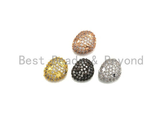 CZ Micro Pave Nugget beads with Star, Cubic Zirconia Spacer Beads, CZ Pave Spacer Bead, 7x13x14mm, sku#Z874