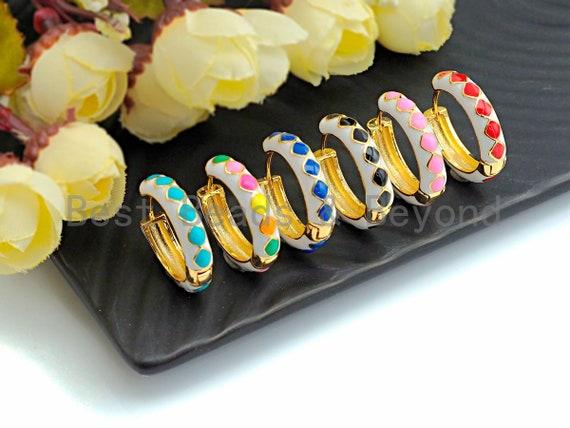 Colorful Enamel Round Ring Latch Back Earring, Enamel Huggies Earrings, Colorful Enamel pave earrings,5x23mm,sku#J157