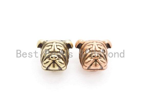 Antique Gold/Copper Bulldog Animal Head Bead, Animal Charm, CZ Pave Dog Spacer Beads, Men's Bracelet DIY, 13x11x11mm, sku#Y136