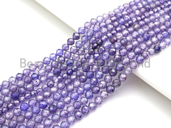 2mm/3mm/4mm High Quality Sparkly Cubic Zirconia Beads, Faceted Sparkly Purple Color beads, 15.5inch full strand, SKU#U915