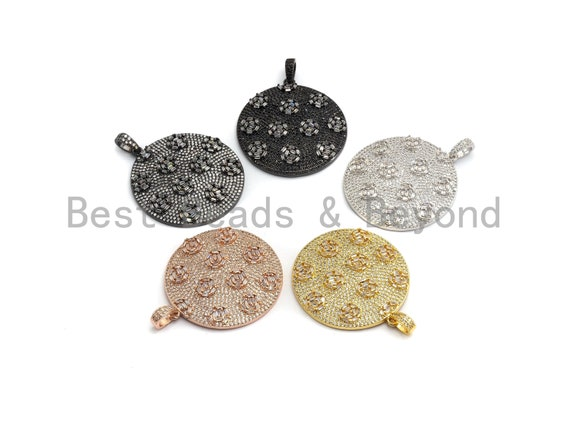 PRE-SELLING 40mm Large CZ Micro Pave Round Disc Pendant with rose baguette cluster, Cubic Zirconia Rose Gold/Silver/Black Pendant, sku#F633
