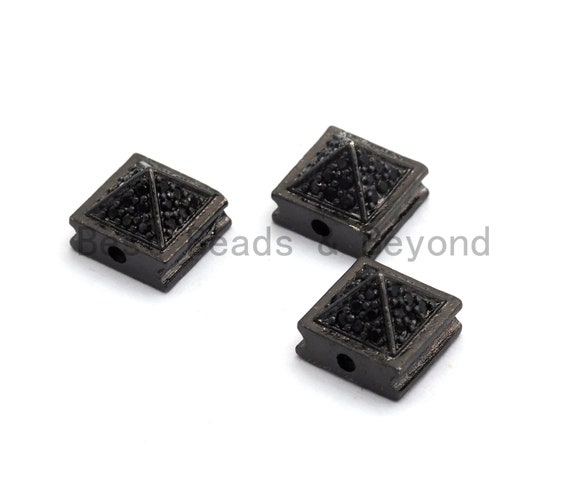Black CZ Pave On Black Square Beads, Pyramid Spacer Beads, Cubic Zirconia Pyramid Space Beads, 8x6mm, SKU#C95