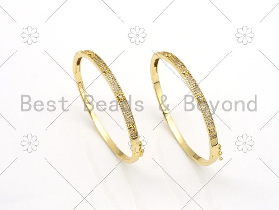 New Style Cz Micro Pave Adjustable Bangle Bracelets, 18K Gold Filled Adjustable Bangle Bracelet, Gold Bracelet, 55x65mm,Sku#X230
