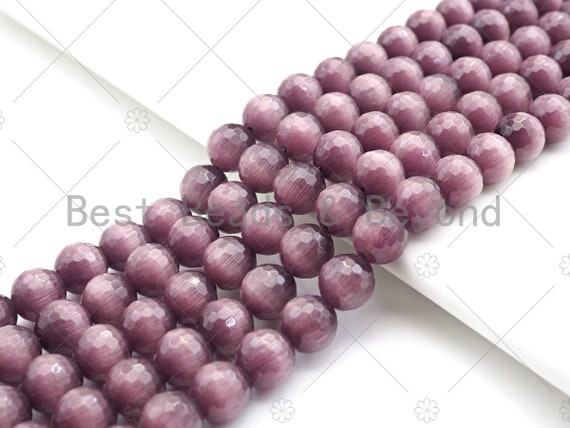 Special Cut Cat's Eye Brown Round Faceted Beads, 6mm/8mm/10mm/12mm Round Faceted, 15.5'' Full Strand, Sku#UA197