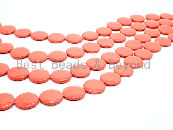 20mm/25mm Natural Mother of Pearl Beads, Coral Flat Coin Smooth Gemstone Beads, Coral Color Pearl Shell 15inch full strand, SKU#U188