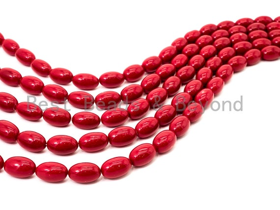 Red Natural Mother of Pearl beads,12x19mm Long Oval beads, Loose Oval Smooth Pearl Shell Beads, 16inch strand, SKU#T92