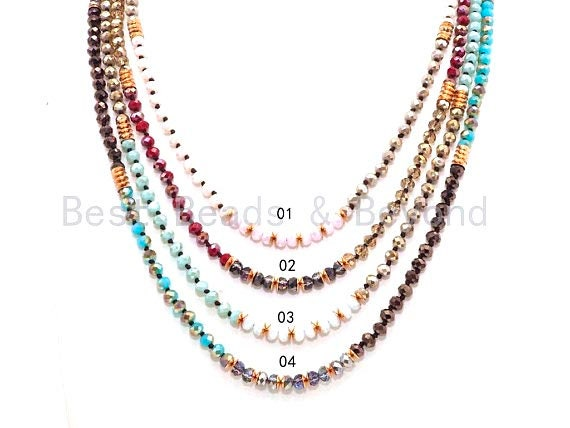 "NEW STYLE 60"" Long Hand Knotted Mixed Color Crystal Necklace Chain, Double Wrap Necklace, 4x6mm Crystal with Brass Spacer Beads, SKU#D27"