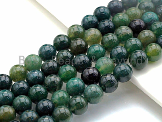 "Natural Moss Agate, Round Smooth 6mm/8mm/10mm/12mm, Green Gemstone beads,15.5"" Full Strand, sku#U635"